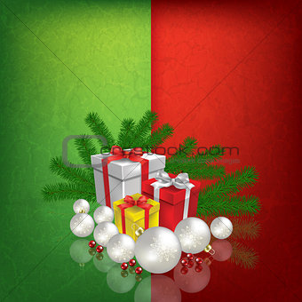 Celebration greeting with Christmas gifts and decorations