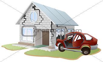 Car crash. Car crashed into wall at home. Property insurance