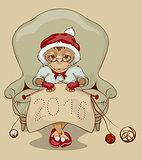 Christmas Monkey Santa is sitting in chair, knitting neckerchief 2016