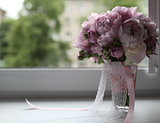 bridal bouquet on the window