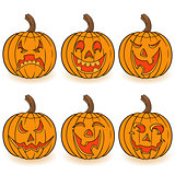 Halloween set of six pumpkins