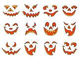 Halloween pumpkin smiles and grimaces
