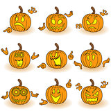 Halloween set of nine gesticulating pumpkins
