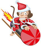 Christmas Monkey Santa flying on firework rocket. Monkey symbol 2016 on Chinese calendar