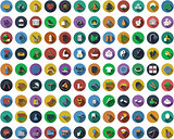 Big set of circle flat design icons