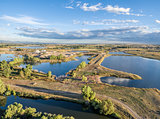 gravel quarry and ponds aerial view