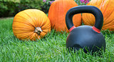 heavy kettlebell and pumpkins