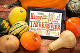 Happy Thanksgiving word cloud on tablet