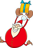 santa with present cartoon