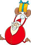 santa with present cartoon