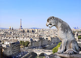 Gargoyle overlooking Paris up on Notre Dame de Paris, France