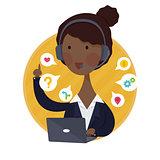 Customer Support Help Desk African American  Woman Operator Service
