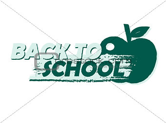 back to school with apple, drawn banner