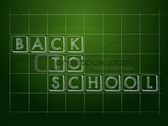 back to school on green checkered chalkboard