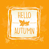 hello autumn in frame with leaves over yellow orange old paper b