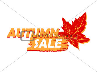 autumn sale with leaf, yellow and orange drawn label