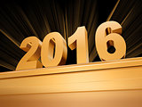 golden new year 2016 on a pedestal