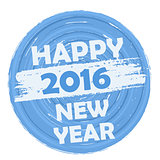 happy new year 2016 in circular drawn blue banner