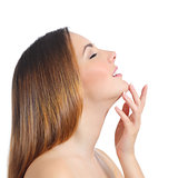 Profile of a beauty woman face skin and hand manicure
