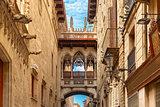 Carrer del Bisbe in Barcelona Gothic quarter, Spain