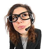 Funny telephone operator agent thinking and looking sideways