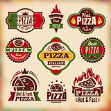 Set of vector vintage pizza labels