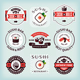 Set of various sushi labels