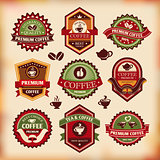 Set of vector vintage coffee labels