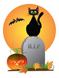 Halloween Black Cat Stting on Tombstone Illustration