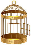 Open gold birdcage. An empty birdcage