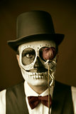 man with calaveras makeup, vintage effect