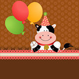 Background birthday cow with balloons