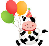 Funny birthday cow with balloons