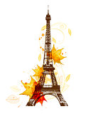Autumn leaves and Eiffel Tower