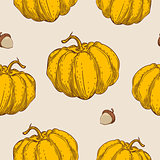 Seamless pattern with orange pumpkin