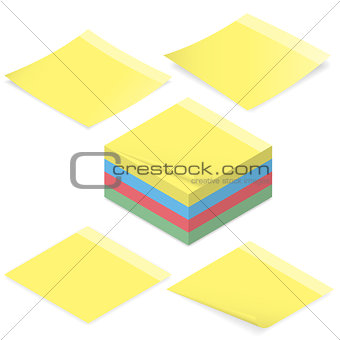 Office stickers for notes isometric icon set