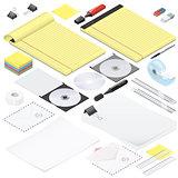 Office stationery detailed isometric icon set