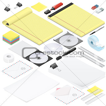 Office stationery detailed isometric icon set