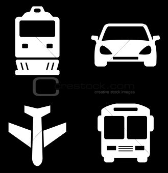 four white transport icons
