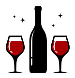 isolated bottle and wine glasses icon