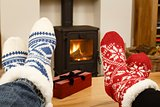 Couple feet in front of fire