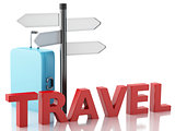 3d Travel suitcase and sign board