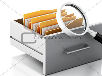 3d File cabinet. Search concept.