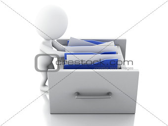3d White people examines File cabinet.