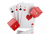 3d Set of playing card with dices. Casino concept.