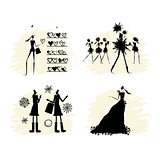 Fashion girls black silhouettes collection