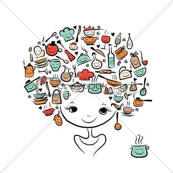 Kitchen fairy concept, female portrait for your design