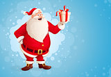 Merry Santa Claus holds Christmas gift in box