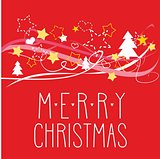 Holiday vector card with Merry Christmas wishes