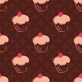 Seamless vector pattern with cherry cupcakes